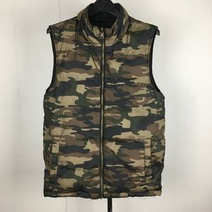 Camouflage / Black Military Reversible Puffer Vest